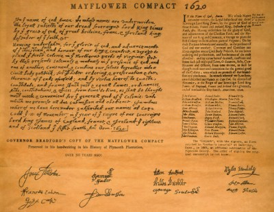 GOVERNOR WILLIAM BRADFORD'S COPY OF THE MAYFLOWER COMPACT